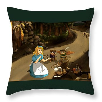 Throw Pillow featuring the painting Tammy Meets Cedric The Mongoose by Reynold Jay