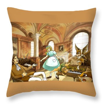 Throw Pillow featuring the painting Tammy Meets Mr. Scott by Reynold Jay