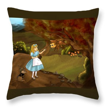 Throw Pillow featuring the painting Tammy Meets Zeke The Opossum by Reynold Jay