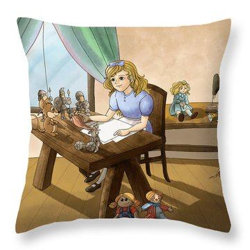 Throw Pillow featuring the painting Tammy The Little Doll Girl  by Reynold Jay