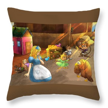 Tammy And Friends In The Backyard Throw Pillow