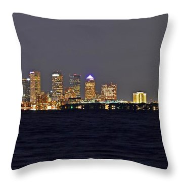 Tampa City Skyline At Night 7 November 2012 Throw Pillow by Jeff at JSJ Photography
