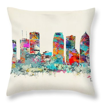 Tampa Florida Skyline Throw Pillow