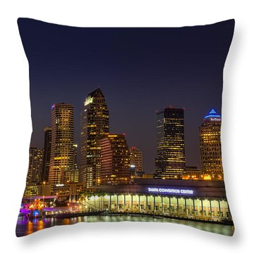 Tampa Lights At Dusk Throw Pillow