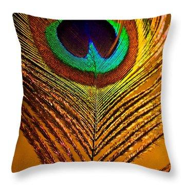 Tan Feather Throw Pillow