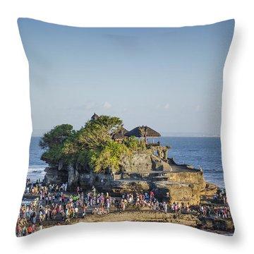 Tanah Lot Temple In Bali Indonesia Coast Throw Pillow