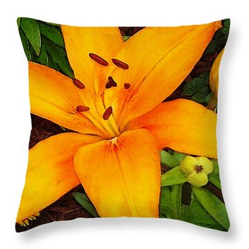 Throw Pillow featuring the photograph Tangerine Asiatic Lily by Shawna Rowe