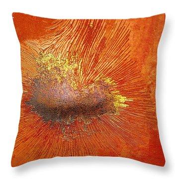 Tangerine Burst Throw Pillow by Leanna Lomanski