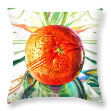Throw Pillow featuring the painting Tangerine Orb Nouveau by Robin Moline