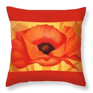 Tangerine Poppy Throw Pillow by Linda Hiller