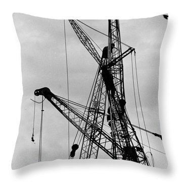Tangled Crane Booms Throw Pillow