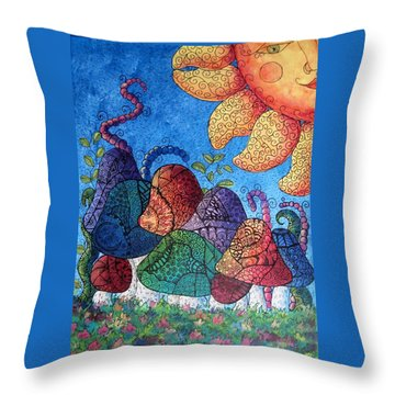 Tangled Mushrooms Throw Pillow