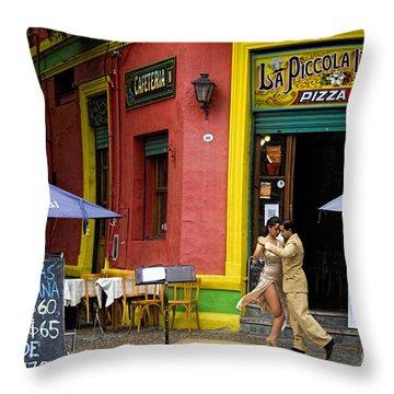 Tango Dancing In La Boca Throw Pillow by David Smith