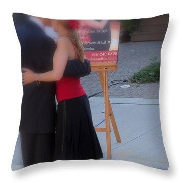 Tango Dancing On The Street Throw Pillow by Lingfai Leung