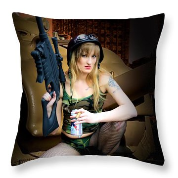 Throw Pillow featuring the photograph Tank Girl A Time To Relax by Jon Volden