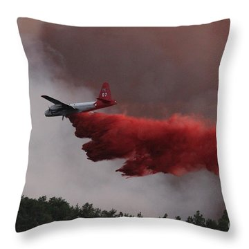 Tanker 07 Drops On The Myrtle Fire Throw Pillow