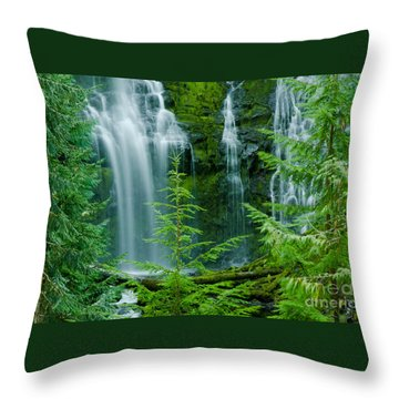 Pacific Northwest Waterfall Throw Pillow