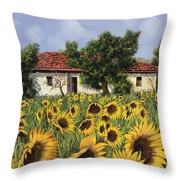 Tanti Girasoli Davanti Throw Pillow by Guido Borelli