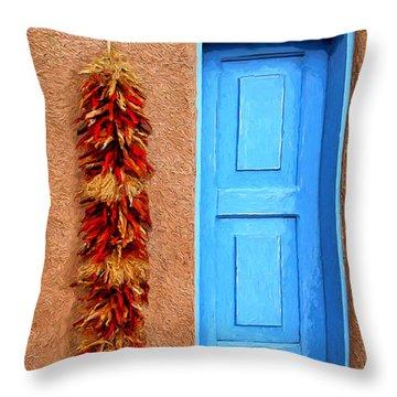 Taos Blue Door Throw Pillow