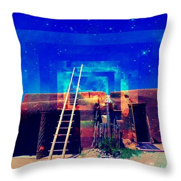Throw Pillow featuring the mixed media Taos Dreams Come True by Michelle Dallocchio