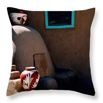 Throw Pillow featuring the photograph Taos New Mexico Pottery by Jacqueline M Lewis