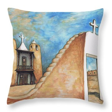 Taos Pueblo New Mexico - Watercolor Art Painting Throw Pillow