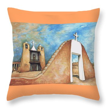 Taos Pueblo New Mexico - Watercolor Art Throw Pillow