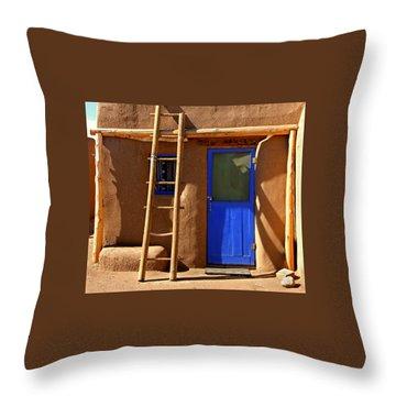 Taos Pueblo Throw Pillow by David Gilbert