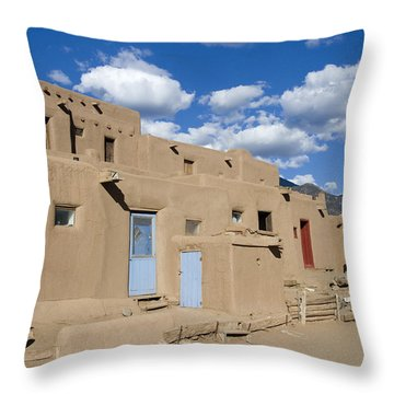 Taos Pueblo Throw Pillow by Elvira Butler