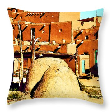 Taos Pueblo II Throw Pillow by Dan Dooley