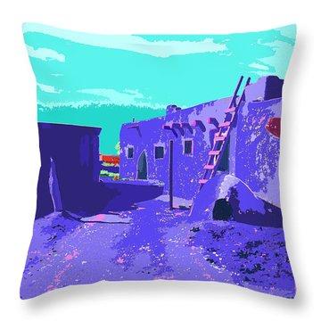 Taos Pueblo Vibrant Light Throw Pillow