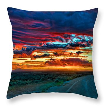 Taos Sunset Iv Throw Pillow