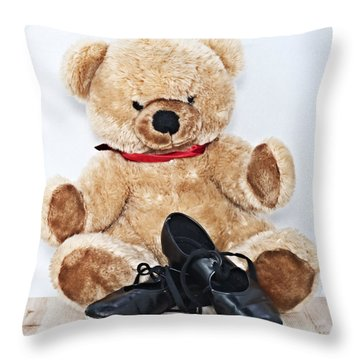 Tap Dance Shoes And Teddy Bear Dance Academy Mascot Throw Pillow