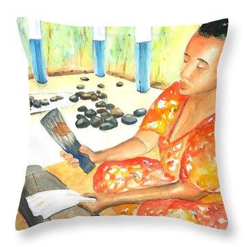 Tapa Stretch Throw Pillow by Carlin Blahnik