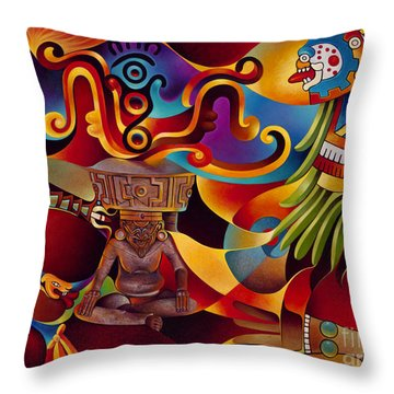 Tapestry Of Gods - Huehueteotl Throw Pillow