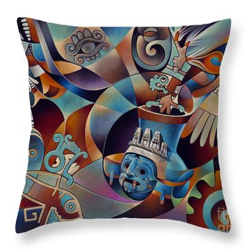 Tapestry Of Gods - Tlaloc Throw Pillow by Ricardo Chavez-Mendez