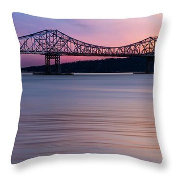 Tappan Zee Bridge Sunset Throw Pillow