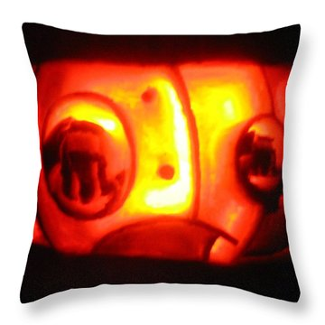 Throw Pillow featuring the sculpture Tarboy Pumpkin by Shawn Dall