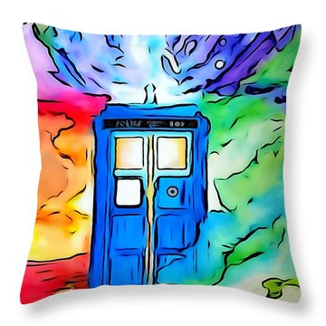Tardis Illustration Edition Throw Pillow by Justin Moore