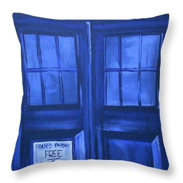 Tardis Throw Pillow by Lisa Leeman