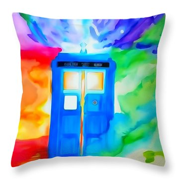 Tardis Watercolor Edition Throw Pillow