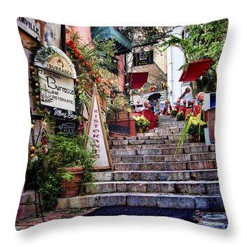 Taormina Steps Sicily Throw Pillow