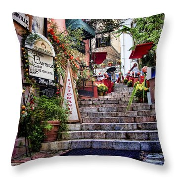 Taormina Steps Sicily Throw Pillow by David Smith
