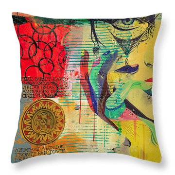 Tarot Card Abstract 007 Throw Pillow by Corporate Art Task Force