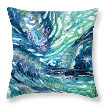 Tarpon Frenzy Throw Pillow