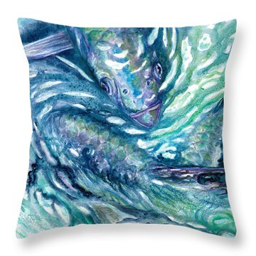 Throw Pillow featuring the painting Tarpon Frenzy by Ashley Kujan