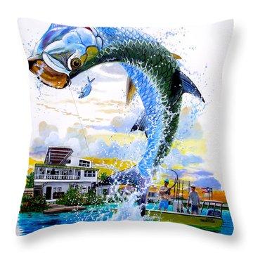 Tarpon Leap Throw Pillow by Carey Chen