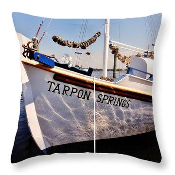 Tarpon Springs Spongeboat Throw Pillow by Benjamin Yeager