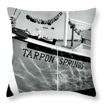 Tarpon Springs Spongeboat Black And White Throw Pillow by Benjamin Yeager