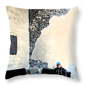 Tarquinia Senior Sitting On The Bench Throw Pillow